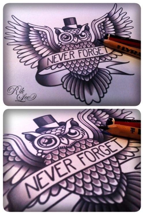 black owl tatttoo arm