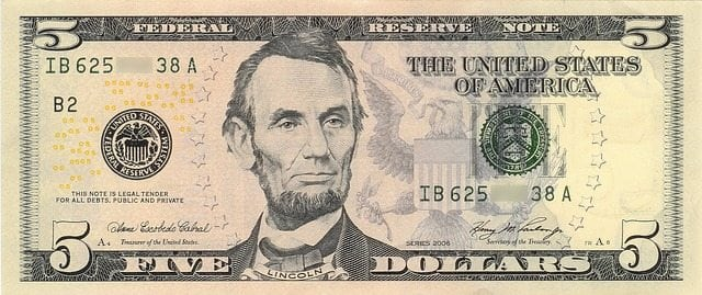 Lincoln five dollar bill face