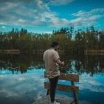 man reflecting mindful meditation