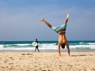 yoga man beach