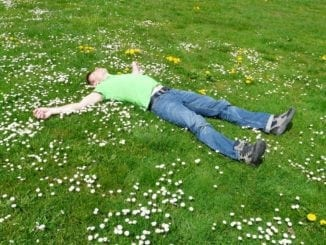 man sleeping grass